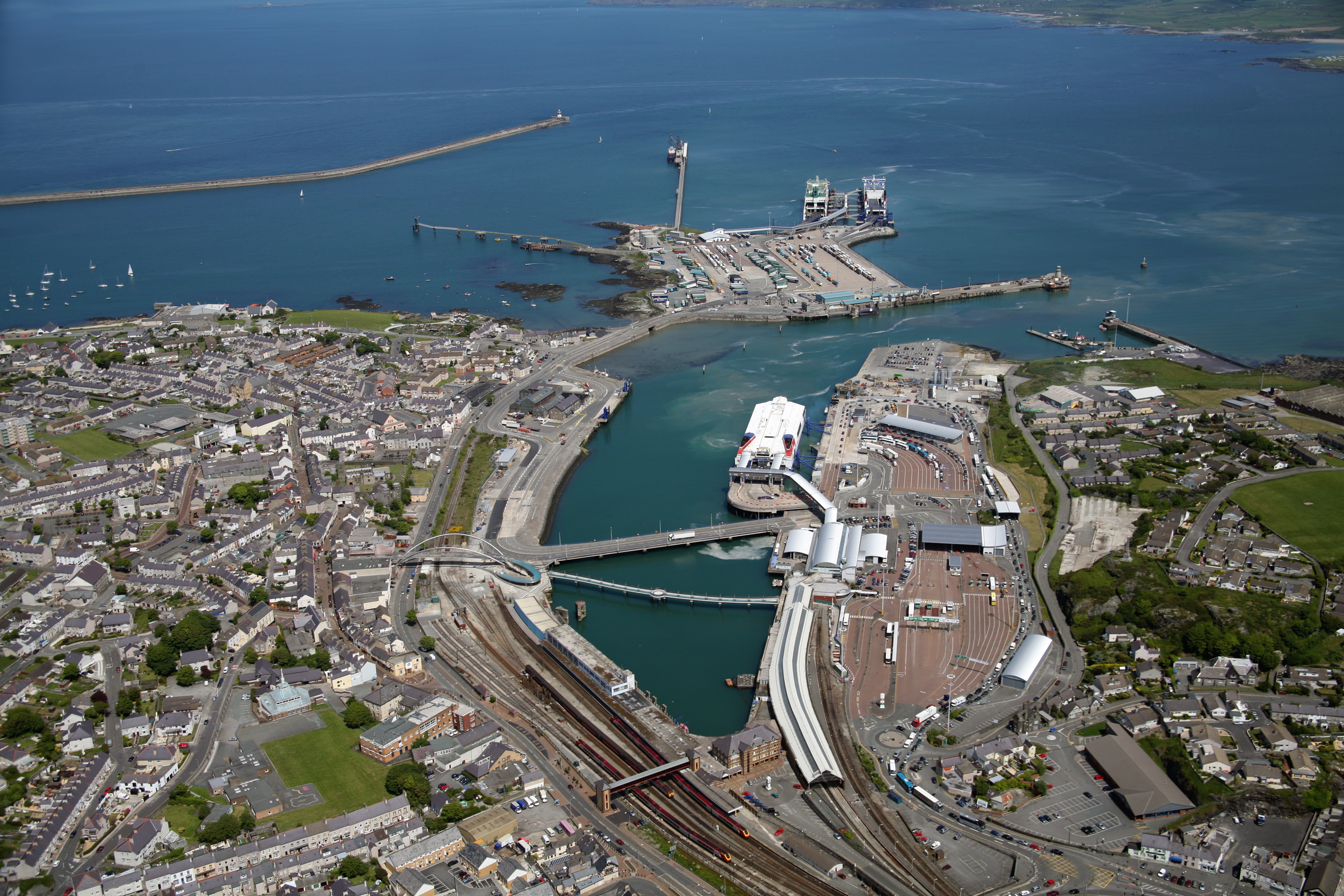 Aerial view of Holyhead Port