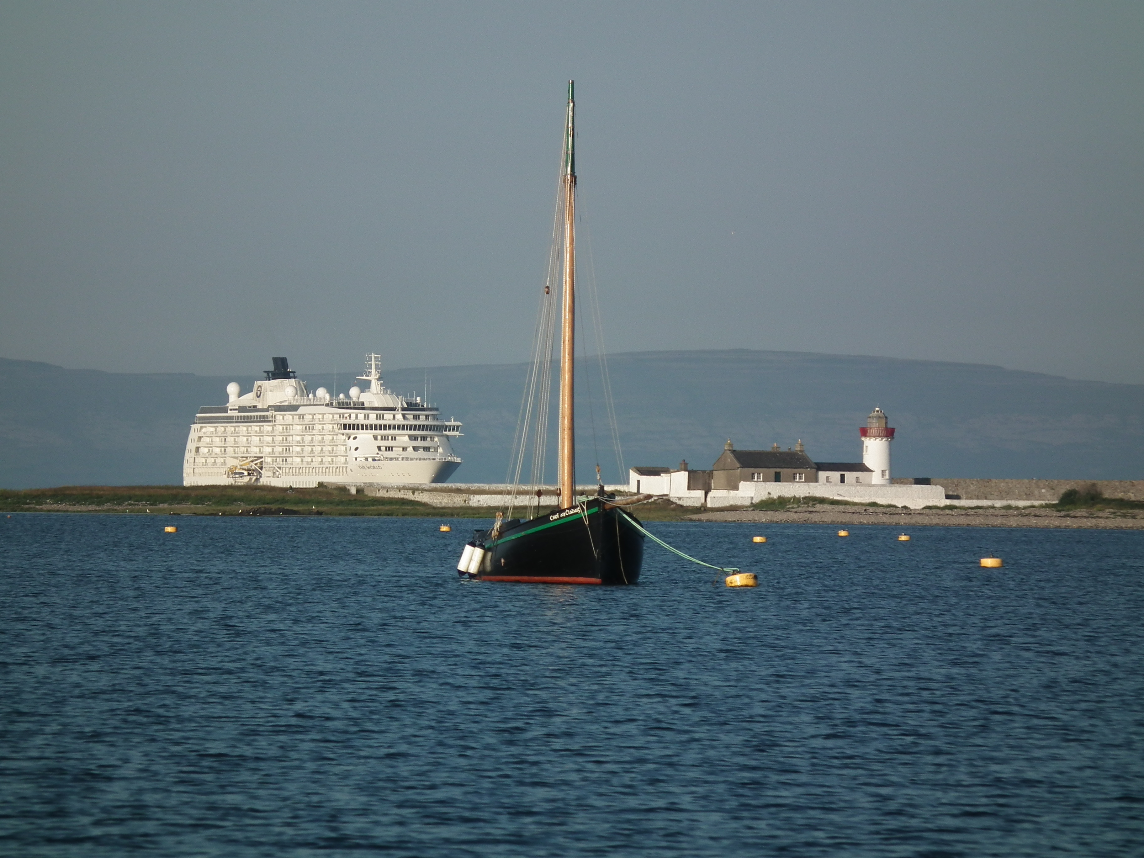 The World at anchor in Galway Bay in 2013