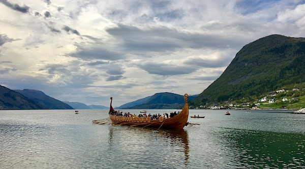 A Viking ship is floated out at Nordfjordeid